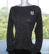 Women's Long Sleeve Black with Silver Shimmer Top