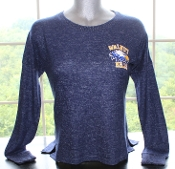 Women's Heather Blue Round Neck Cuddle Sweater