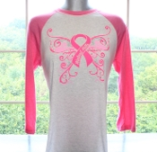 Walnut Hills Pink/Gray 3/4 Sleeve Breast Cancer Awareness Jersey